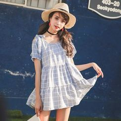 YOSH - Check Short-Sleeve Babydoll Dress
