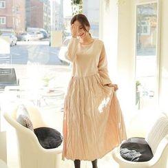 Cherryville - Crinkled A-Line Long Dress