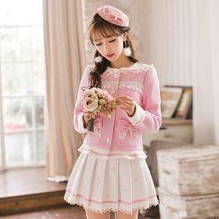 Candy Rain - Woolen Pleated Skirt