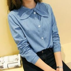 Romantica - Long-Sleeve Bow-Accent Blouse