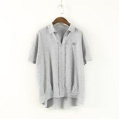 蘭芝 - 刺繡V領短袖襯衫