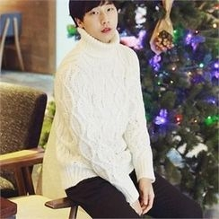 Smallman - Turtle-Neck Cable-Knit Sweater