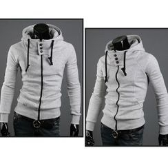 Aozora - Drawstring Hooded Zip Jacket