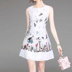 Alaroo - Embroidered Sleeveless A-Line Dress