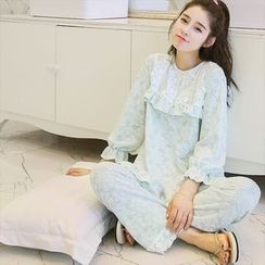 Fitight - Lace-Trim Floral Pajama Set/Dress