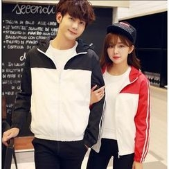 CASSY - Couple Matching Zip Panel Jacket
