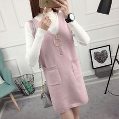 anzoveve - Set: Mock Neck Knit Top + Zip Front Knit Pinafore Dress