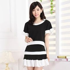 Hanee - Set: Color-Block Ruffled Top + Skirt