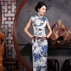 Janelle Qipao - Cap-Sleeved Printed Long Qipao