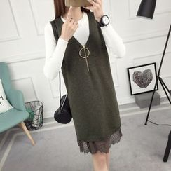 anzoveve - Set: Ribbed Sweater + Lace Hem Pinafore Dress