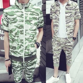 Danjieshi - Set: Camouflage Short-Sleeve Zip Jacket + Cropped Sweatpants