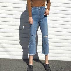 Anlay - 宽腿短款牛仔裤