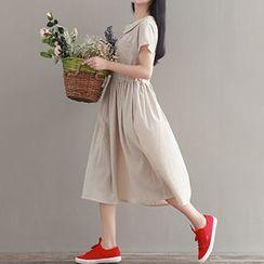 chome - Stripe Midi Collared Dress