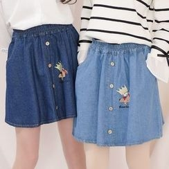 Moriville - Embroidered Denim Skirt