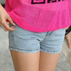 SO Central - Skull-Accent Denim Shorts