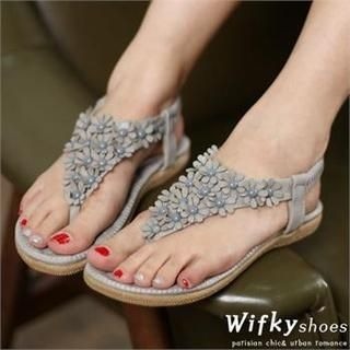 Wifky - Flower Appliqué Thong Sandals