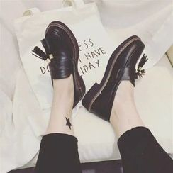Charming Kicks - Block Heel Tassel Loafers