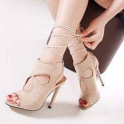 Monde - 繫帶鏤空高跟鞋