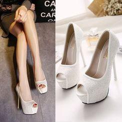 Monde - Sequined Peep Toe Platform Stilettos