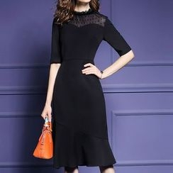 LunarS - Ruffle Hem Elbow Sleeve Midi Dress