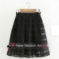 JVL - Pleated Check Organza Midi Skirt