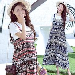 Mamaladies - 套裝:T恤 + 圖案沙灘裙