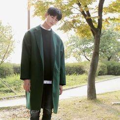 Seoul Homme - Raglan-Shoulder Single-Breasted Coat