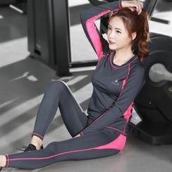 RITMO - 套装: 配色边长袖上衣 + 瑜伽裤