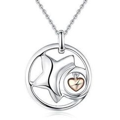 Bling Bling - Bling Bling Platinum Plated 925 Silver Star with Dangle Heart Necklace (16')