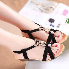 MANMANNI - Rhinestone Wedge Sandals