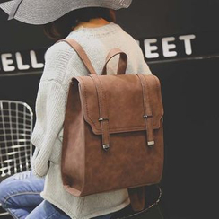 Merlain - Flap Faux Leather Backpack