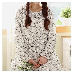 Sechuna - Frill-Trim Floral Pattern Empire Dress