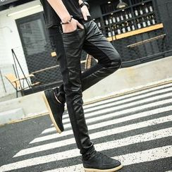 Bay Go Mall - Faux Leather Panel Pants