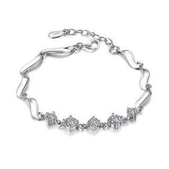 BELEC - White Gold Plated 925 Sterling Silver with White Cubic Zirconia Bracelet