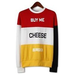 Seoul Homme - Letter Print Color-Block Sweatshirt