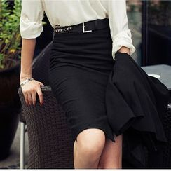 Aision - Slit-Front Pencil Skirt