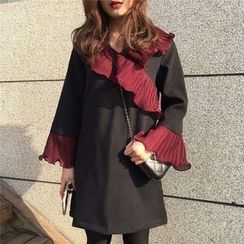 MATO - Ruffle Trim Long Sleeve Dress