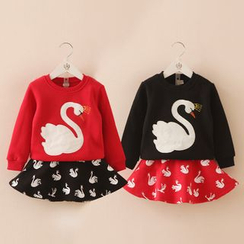 Seashells Kids - Kids Set: Swan Long-Sleeve T-shirt + Skirt