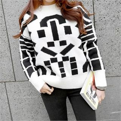 PEPER - Mock-Neck Patterned Knit Top