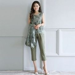 Romantica - Set: Sleeveless Top + Cropped Pants + Floral Open Front Long Top