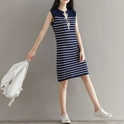 MayFair - Stripe Lace-Up Sleeveless Dress