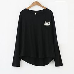 Meimei - Cat Embroidered Long Sleeve T-Shirt