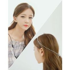 soo n soo - Strap Layered Embellished Metal Hair Band