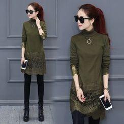 Fenim - Lace Panel Fleece-Lined Tunic