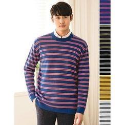 STYLEMAN - Round-Neck Stripe Knit Top