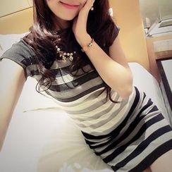Coralie - Short-Sleeve Striped Knit Dress