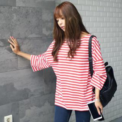 REDOPIN - Drop-Shoulder Stripe T-Shirt