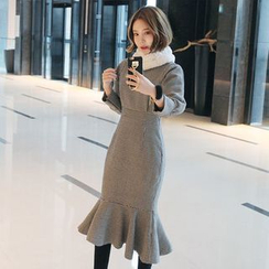 Seoul Fashion - Ruffle-Hem Houndstooth Wool Blend Midi Dress