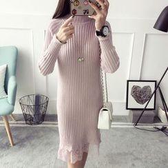 Qimi - Lace Hem Sweater Dress