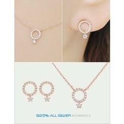 soo n soo - Set: Rhinestone Earrings + Necklace